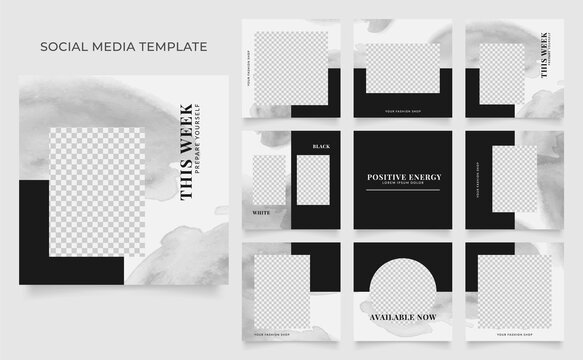 social media template banner fashion sale promotion. fully editable instagram and facebook square post frame puzzle organic sale poster. black white vector background. black friday theme
