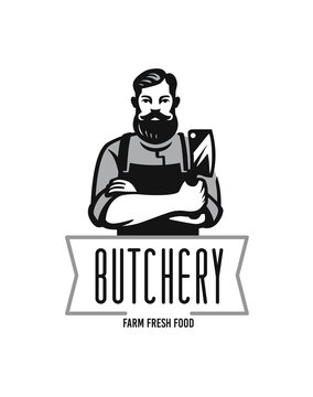 Butcher logo with text. Man with beard and large knife