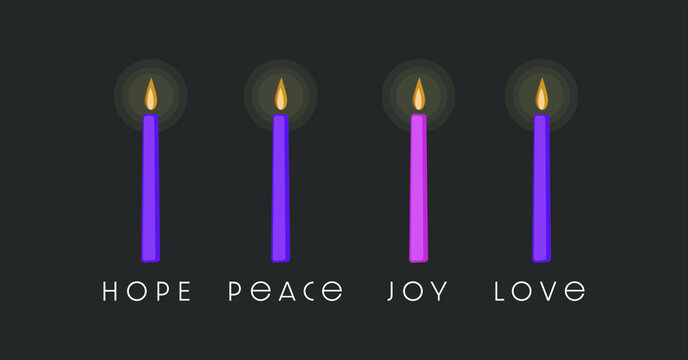 The four purple and pink  candles of Advent season symbolize hope, peace, love, and joy.