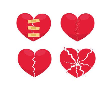 Set of Broken Heart. Isolated Vector illustration