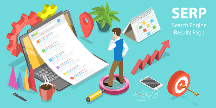 3D Isometric Flat Vector Conceptual Illustration of SERP - Search Engine Result Page.