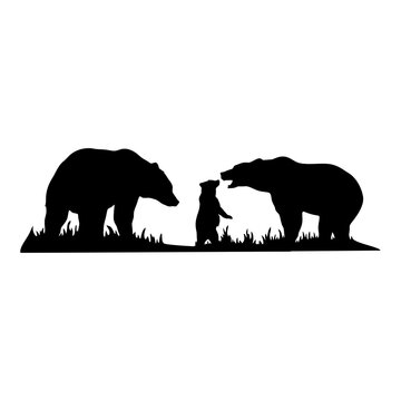 bear with a bear cub forest landscape - Wildlife Stencils - forest Silhouettes vector