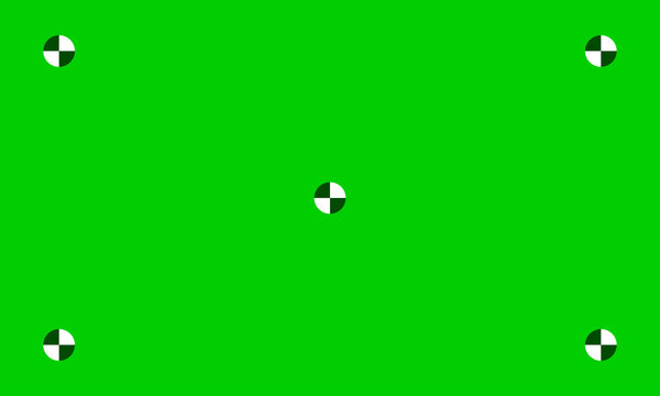Green chroma key screen background with tracking markers, vector. Chroma key greenscreen with studio camera trackers on green background.