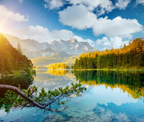 Wall Mural - Splendid view and azure water Eibsee lake. Location place Bavarian alp, Europe.