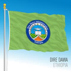 Obraz Dire Dawa regional flag, Republic of Ethiopia, vector illustration on the blue sky background - fototapety do salonu