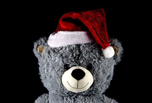 Teddy Bear Wearing Christmas Santa Hat on a Black Background