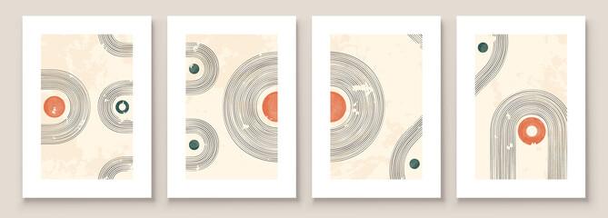 Fototapeta Abstract Illustration in Minimal Style for Wall Decoration Background. Mid century modern minimalist art print. Boho wall decor. Vector Illustration
