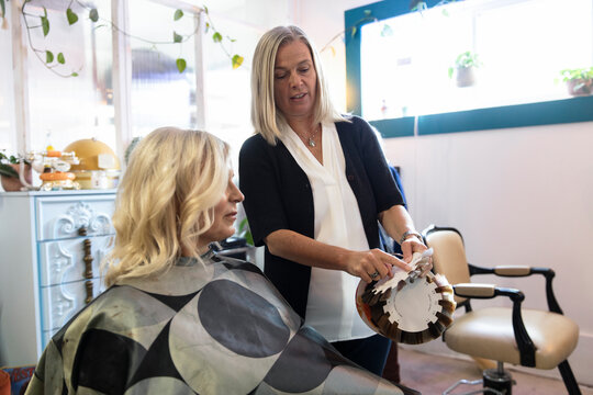 Hairdresser giving hair colour advice to customer