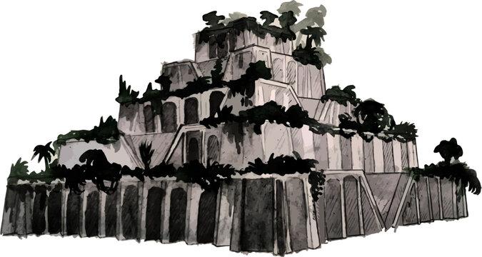 Hanging gardens of Babylonia vector illustration wonders of world