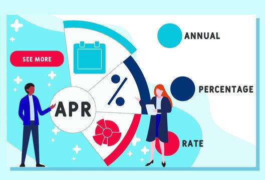Vector website design template . APR - Annual Percentage Rate acronym. business concept background. illustration for website banner, marketing materials, business presentation, online advertising.