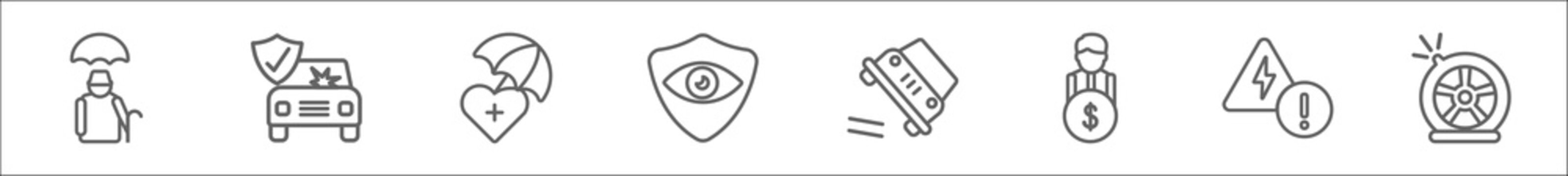 outline set of insurance line icons. linear vector icons such as elderly, frontal crash, life insurance, vision insurance, overturned car, beneficiary, problem electric, puncture in a wheel
