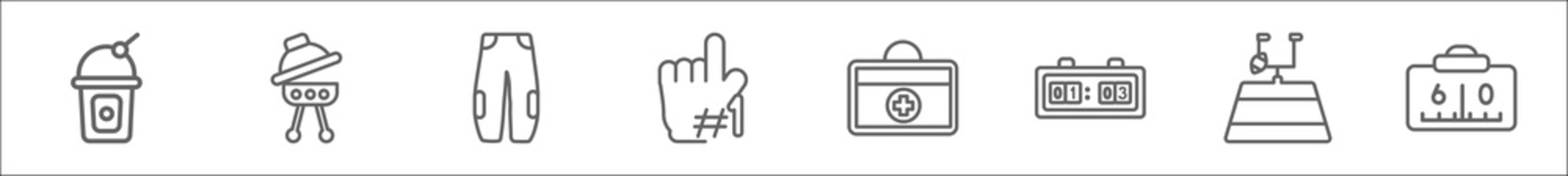 outline set of american football line icons. linear vector icons such as soda drink, barbecue with wheels, practice pants, foam finger, first aid kit, score, football field, american football scores