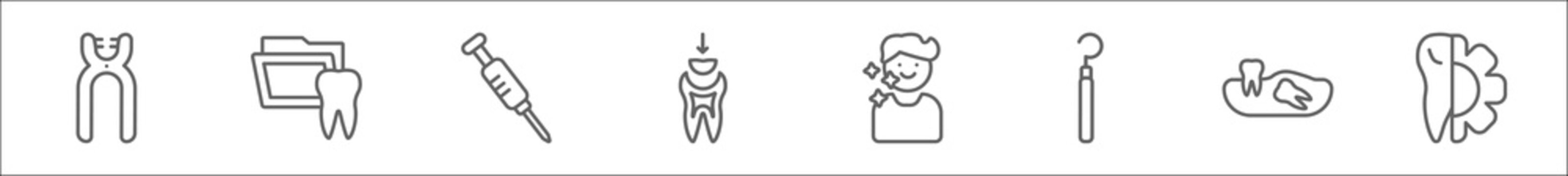 outline set of dentist line icons. linear vector icons such as forceps of dentist tools, dental folder, empty syringe, dental filling, healthy boy, dental probe, wisdom tooth, apicoectomy