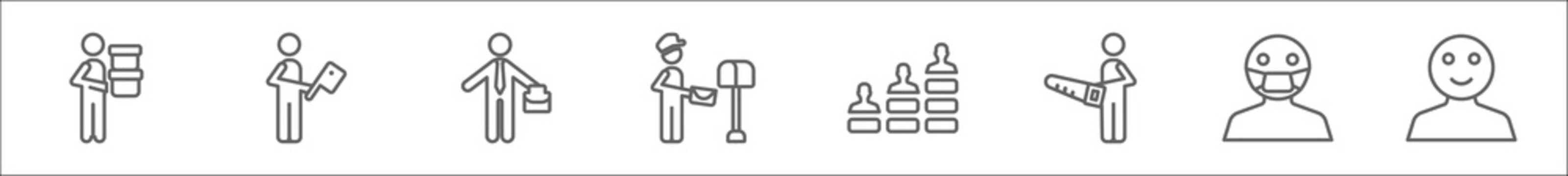 outline set of people line icons. linear vector icons such as men carrying a box, butcher with knife, businessman with suitcase, postman working, team work success, carpenter working, sick smile,