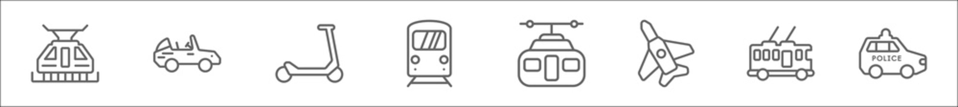 outline set of transport aytan line icons. linear vector icons such as funicular railway, cabriolet, micro scooter, underground, chairlift, military airplane, trolleybus, police car
