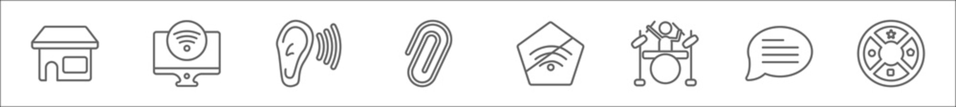 outline set of ultimate glyphicons line icons. linear vector icons such as groceries shop, tv wireless connection, ear with sound bar, attach rotated, internet connections off, band, message