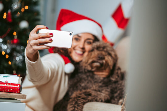 Selective focus. A brunette woman with her Spanish water dog taking a photo with her phone. She is wearing a Santa Claus hat and casual clothes. Christmas holidays with pets and technology concept