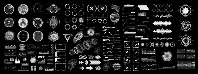 Futuristic digital collection HUD for UI, UX and GUI projects. Hi-tech design elements, charts, circle, callouts titles, gadgets, audio waves, graphics and other. HUD UI, VR vector elements.