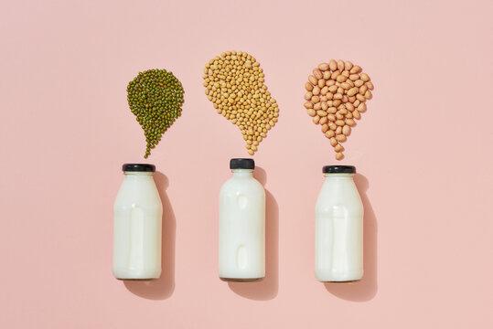 Different vegan milk: peanut milk, soy milk and mung bean milk