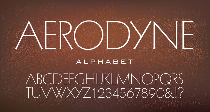 Aerodyne is an extra light serif alphabet with elegant and flowing proportions. Good for luxury logos and branding.