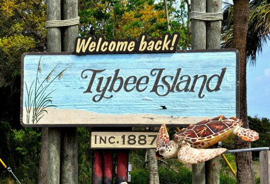Tybee Island, Georgia, U.S - November 5, 2016 - The welcoming sign into the island