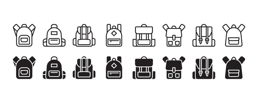 Backpack, school bag icon set. Vector graphic illustration. Suitable for website design, logo, app, template, and ui.