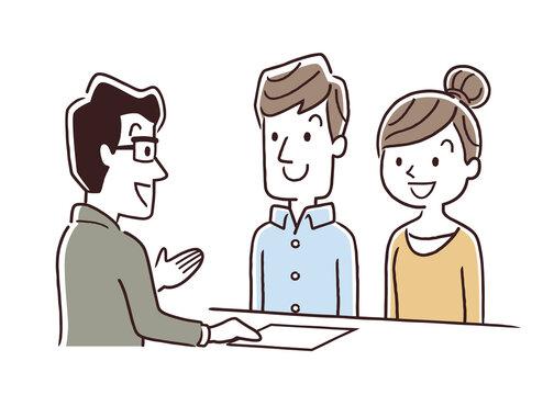 ベクターイラスト素材:夫婦、窓口、接客、受付、対応
