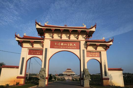 The entrance gate to Temple in Tanjungpinang, Bintan Island, Riau Islands Province, Indonesia