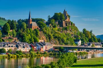 Fototapeta Saarburg panorama of old town on the hills in Saar river valley, Germany