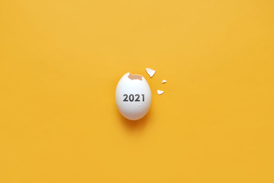 The eggshell and the inscription on it 2021. The new year 2021 is coming soon. Birth of the new year