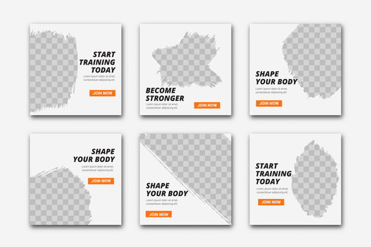 Gym and fitness instagram post template Premium vector
