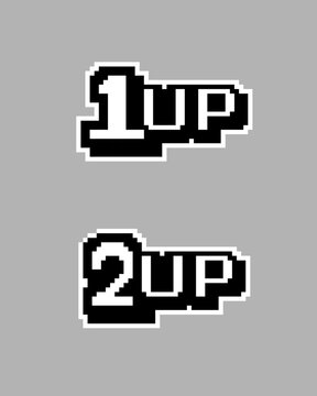 Extra life pixel image, 1up and 2up in game. Vector illustration of cross stitch and t-shirt pattern.