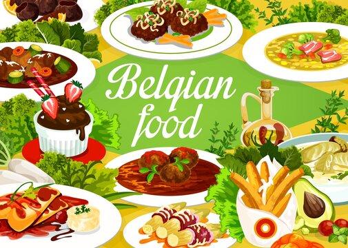 Belgian cuisine food menu, restaurant meal dishes