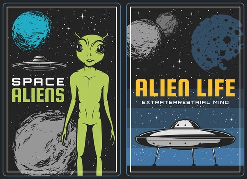 Retro poster with alien and ufo spaceship in space