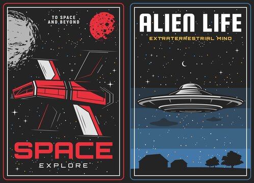 Outer space exploration, alien life contact banner