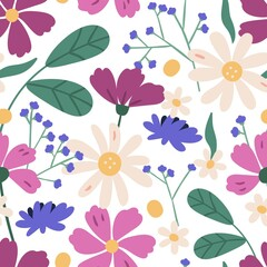 Fototapeta Colorful floral seamless pattern. Endless natural botanical background with blooming meadow daisy and cosmos flowers. Spring wildflowers and leaves. Vector illustration in flat cartoon style