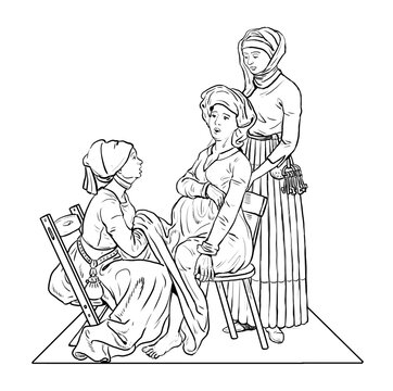 Medieval midwife receives birth of a child. Historical illustration.