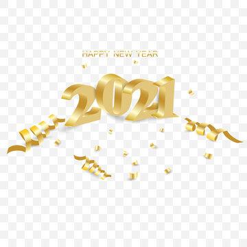 3d golden numbers 2021 on transparent background