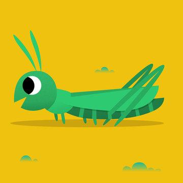 Grasshopper Flat Illustration for Kids Bugs ABC Retr0