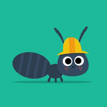Ant Flat Illustraton for Kids Bugs ABC Retro