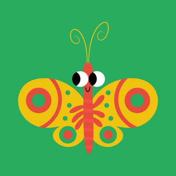 Butterfly Flat Illustration for Kids Bugs ABC