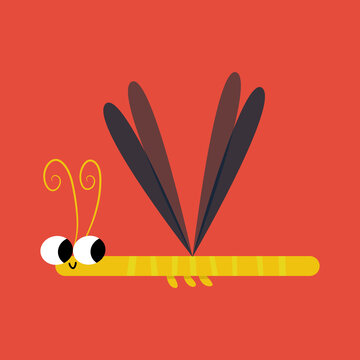 Dragonfly Flat Illustration for Kids Bugs ABC