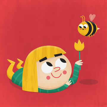 Girl with a flower and a bee Flat Illustration for Kids Retro