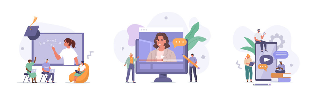People Characters Having Video Call with Teacher on Laptop and Smartphone. Students Listening Lection and Learning on Digital Platform. Online Education Concept. Flat Cartoon Vector Illustrations Set.