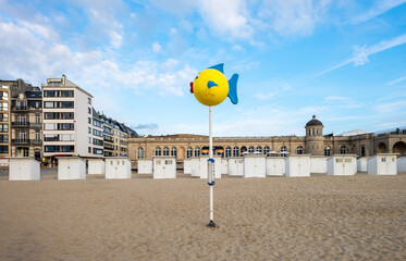 Orientation pole on the beach of Oostende in Belgium.