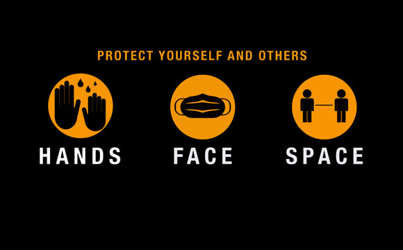 Hands Face Space Coronavirus Health Icons and Text