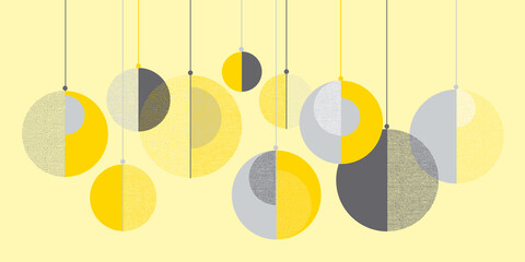 Christmas concept balls in yellow and gray colors