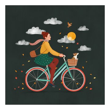 Girl riding a bicycle with a little dog