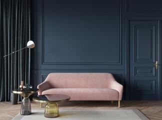 Obraz Living room interior in dark blue with a pink sofa, glass tab… - fototapety do salonu