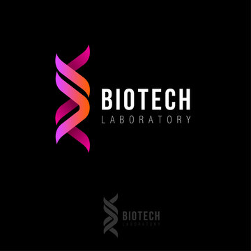 Biotech laboratory logo. DNA logo as two ribbons. Biotech logo.  Molecule or gene icon.
